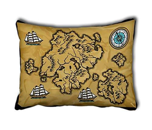 JONINOT Funda de Almohada Viejo Mapa náutico Islas Barcos y Vintage Retro Nueva Sala de Estar Sofá Coche Rectángulo 20 'X30'