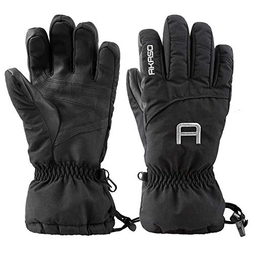 AKASO Waterproof Ski Gloves Winter Warm 3M Thinsulate Snow Gloves,High Breathable TPU Snowboard Gloves for Skiing, Snowboarding,Outdoor Sports, Gifts for Men and Women (Black, M)