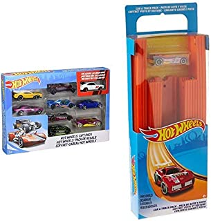 Hot Wheels 9-Car Gift Pack (Styles May Vary) AND Hot Wheels Track Builder Straight Track with Car