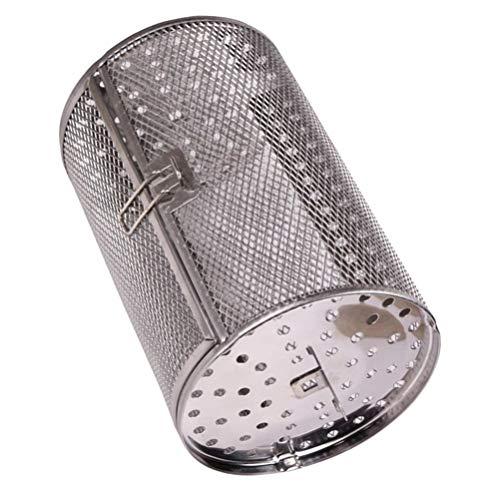 Cabilock Friggitrice ad aria in acciaio inox, forno a rotella per arrostire noci rotanti, cestello per barbecue, utensili per