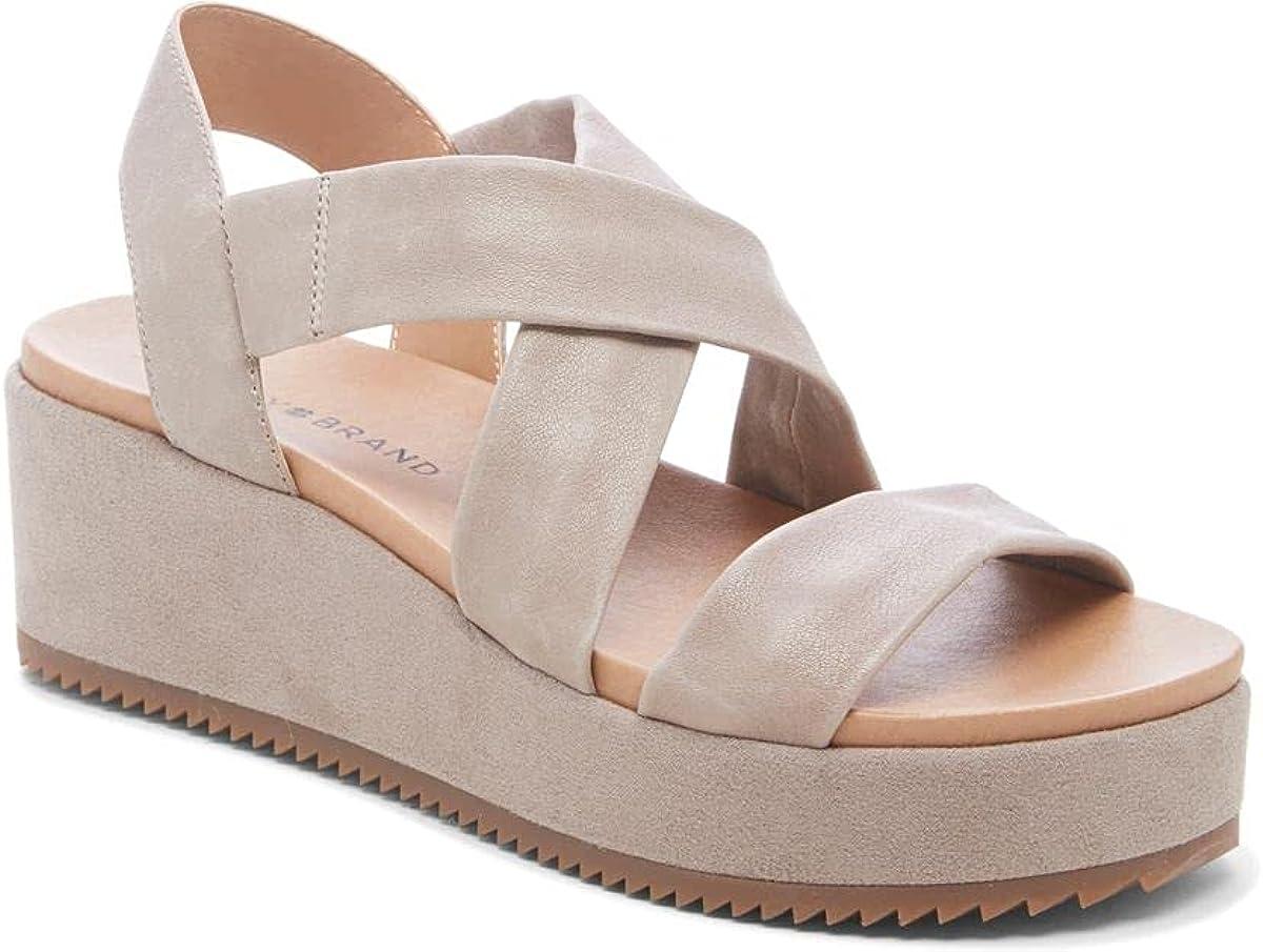 Lucky Brand Women's Waldyna Crisscross Leather Wedge Sandal