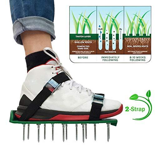 AYUSHOP Chaussures d'aération de pelouse avec Pointes pour l'aération de pelouse, de Jardin, de Sol, d'herbe – Taille Universelle,Herbe Pointes cultivateur d'ongle Cour Jardin Outil