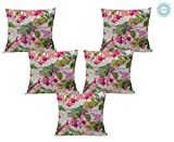 STITCHNEST Exquisite Rainbow Fuschia Floral Pattern Print Satin Cushion Cover for Modern Home