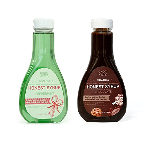 ChocZeros Chocolate Syrup and Peppermint Syrup. Sugar Free, Low Net Carb, No Preservatives. Gluten Free. No Sugar Alcohol. (2 Bottles)