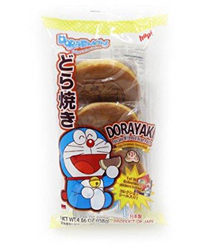 Japanese Hapi Doraemon Dorayaki Pancake with Red Bean Paste 4.86oz (Pack of 2, 6pcs)