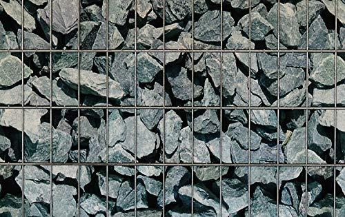 mein-zaunsichtschutz Sichtschutzstreifen in vielen Motiven, beidseitig Bedruckt aus Polyester-Filz für Doppelstabmattenzaun - KEIN PVC (Granit-Bruchstein)