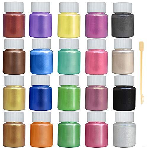 JEMESI 20er×10g Epoxidharz Farbe, Mica Powder, Epoxy Resin Farbe Farbpigmente Pigmentpulver Farben...
