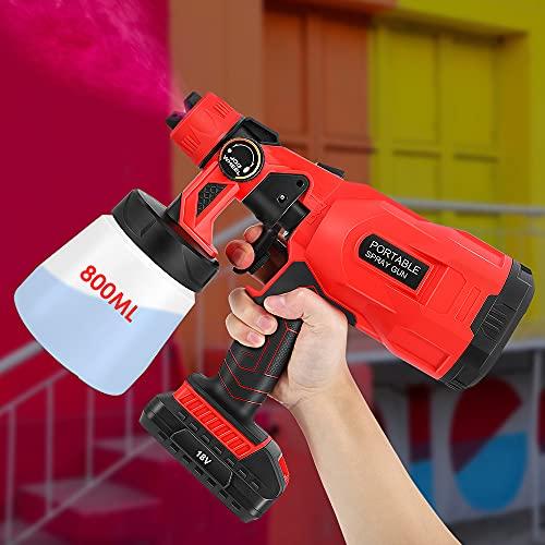 Vogvigo 800ml Abnehmbarer Behälter Elektrische Farbspritzpistole HVLP Spritzpistole mit 3 Spritzmodi und einstellbaren Ventilknöpfen Durchflussregelung, zum Spritzen von Decken/Zäunen/Schränken/Wänden