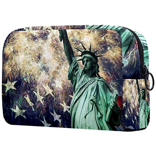 Bolsa de cosméticos Bolsa de Maquillaje para Mujer para Viajar Llevar cosméticos Cambiar Llaves, etc.,Estatua de la Libertad con una Bandera