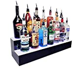 BarConic LED Liquor Bottle Display Shelf - 2 Step - Multi Colored Lights - Several Lengths (36')