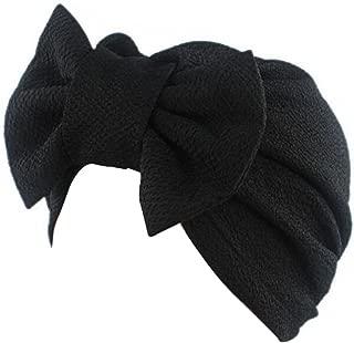 Decou Solid Pattern Bowtie Dual Purpose Turban Hat Hijab Turban