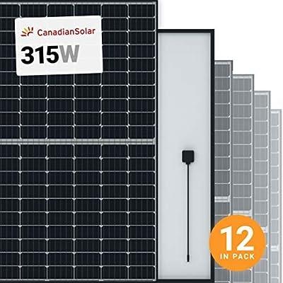 Canadian Solar 12Pcs. 315 Watt Monocrystalline Solar Panel 120 Cell CS3K-315MS, 3780w 12V/24V/48V, Battery Charger Compatible Off-Grid On-Grid Solar System, Residential Commercial House