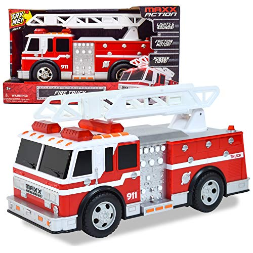 Maxx Action Large Fire Truck – Lights and Sounds Vehicle with Extendable Ladder | Motorized Drive and Soft Grip Tires | Firetruck Toys for Kids 3-8 – Sunny Days Entertainment