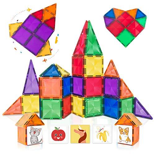 CONNOO Hobaby 40 Piece Diamond Tiles Durable 3D Magnetic Tiles Educational STEM Toys for Kids...