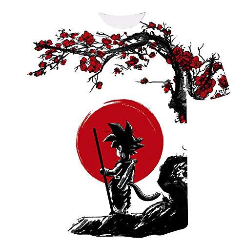 Camiseta Goku 3D Impresión Digital Hombres Cuello Redondo Manga Corta-T156_2XL