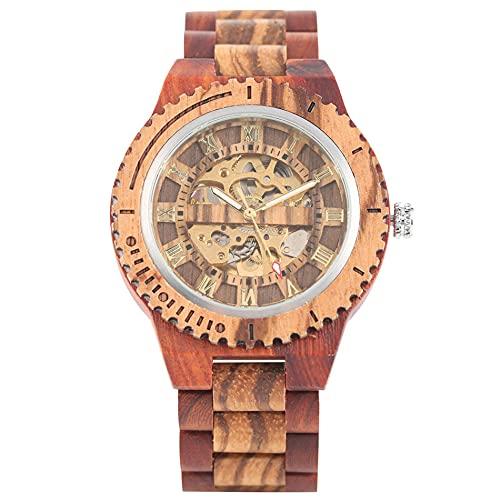 UIOXAIE Reloj de Madera Reloj de Madera Esqueleto Transparente con números Romanos Dorados, Relojes mecánicos para Hombres, Reloj automático de Cuerda automática, Brazalete de Madera