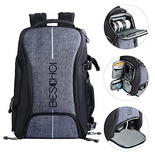 Beschoi Kamerarucksack, wasserdichte Kameratasche mit Stativgurt und Regenschutz, große Kapazität, Rucksack für Digitale SLR-Kamera, Speedlite Blitz, Kamerastativ, Laptops, Objektiv und Zubehör