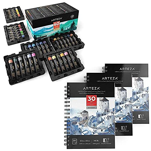 Arteza Watercolor Paint Set and Expert Watercolor Pad Bundle for Artists & Hobby Painters