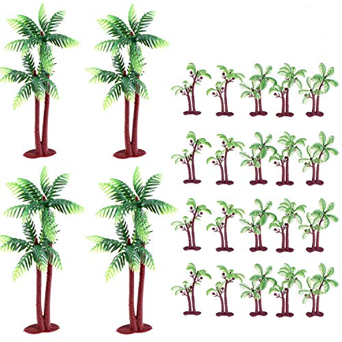 24 Pieces Palm Tree Green Coconut Tree Cupcake Topper Coconuts Cake Decorations Tree Coconuts Cupcake Topper Building Model Landscape(3.15 inch-20 Pieces, 5.5 inch-4 Pieces)