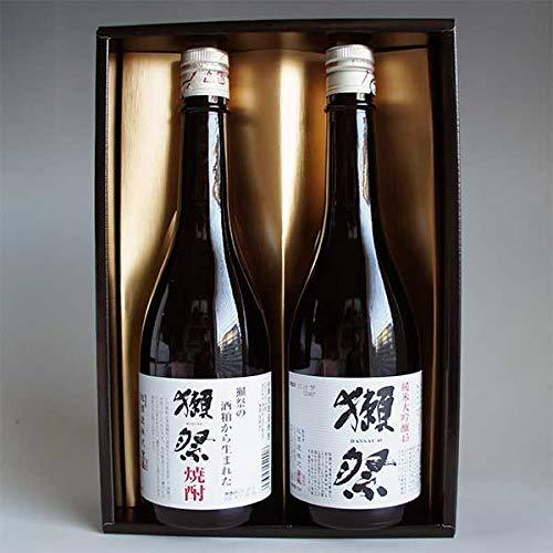 獺祭 焼酎日本酒飲み比べセット 獺祭 39度 米粕取り焼酎と獺祭 純米大吟醸 45 720ml 計2本 感謝のギフト箱入り 獺祭の純正包装紙で無料包装