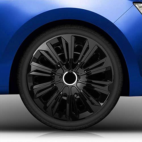 Autoteppich Stylers Bundle 15 Zoll Radkappen/Radzierblenden Nr.006 (Farbe Schwarz), passend für Fast alle Fahrzeugtypen (universal)
