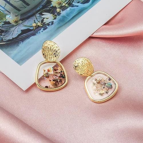 LPNJLALA Pendientes Coreanos Redondos a la Moda con Forma de Gota para Mujer, Pendiente de Oro con Forma de corazón Redondo geométrico, joyería de Boda