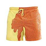 Holzkary Men Summer Swimming Trunks Funny Color Changing Beach Shorts–Temperature Sensitive Beach Swim Shorts(XL.Yellow)