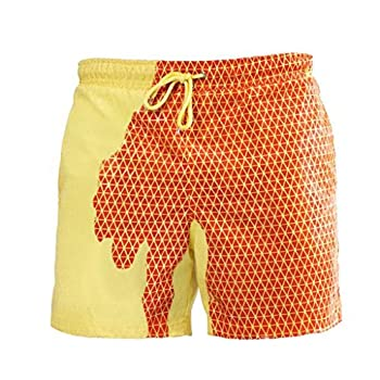 Swimwear Mens Color Changing Board Shorts That Change Color When Wet Plus Size Yellow
