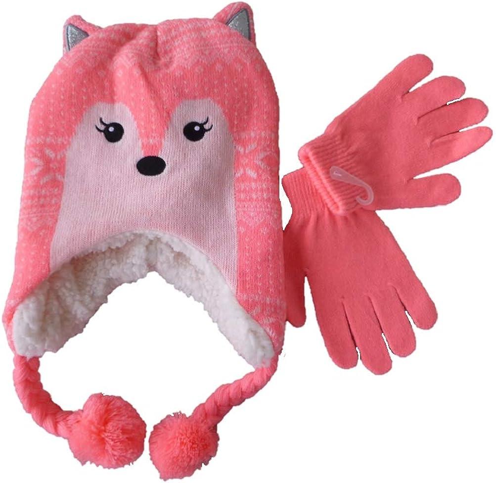 Girls Fleece Lined Friendly Fox Winter Hat Beanie & Gloves Set