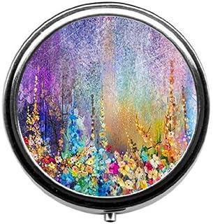 Qien BaiSei Abstract Floral Watercolor Painting Pill Box/Pill case-Round Pill Box/case- Three-Compartment Pill Box/Pill case