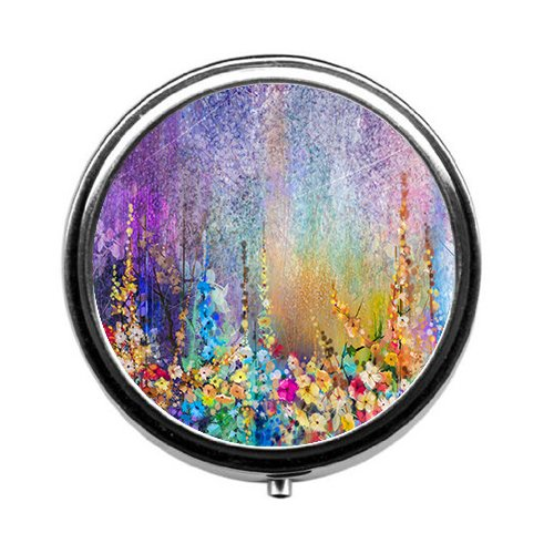 Qien BaiSei Abstract Floral Watercolor Painting Pill Box/Pill case-Round Pill Box/case- Three-Compartment Pill Box/Pill case