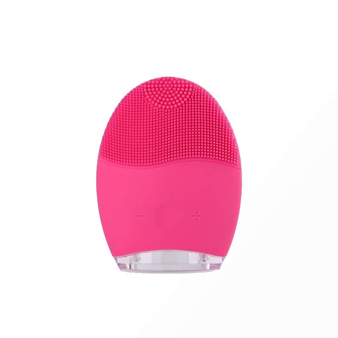 穿孔するローブ逆さまにソニックバイブレーションフェイシャルクレンジングブラシ、電動ポータブルフェイシャルクレンジングブラシディープクレンジングブラシは、すべての肌タイプのしわ美容ツールを減らします (Color : Red)