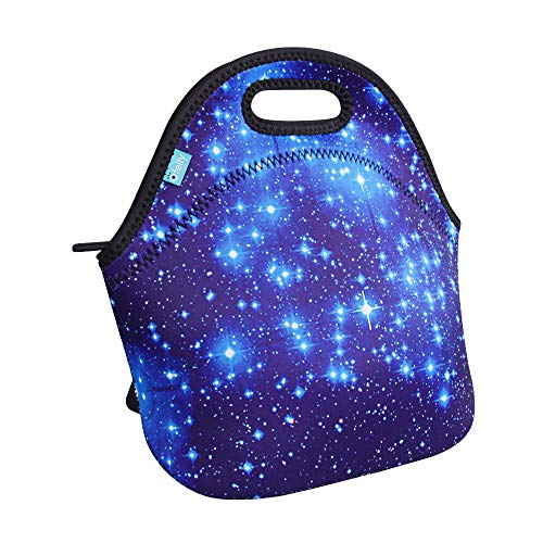 Neoprene Lunch Tote, OFEILY lunch bag for girls(Middle, Blue star)