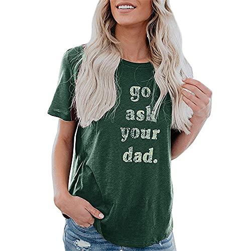 Camiseta Mujer Tops Mujer Suelta Cómoda Cuello Redondo Manga Corta Vacaciones Verano Moda Casual Estampado De Letras Clásico All-Match Mujer Shirt B-Green XL
