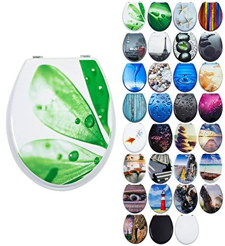 Grafner MDF WC Sitz mit Absenkautomatik viele schöne Motive zur Auswahl - stabile Qualität - einfache Montage WC Deckel Klobrille Softclose (Green Leaf)