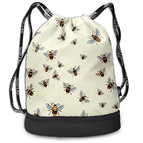 Petrichor Yi Bees On Cream Gym Trekkoord Sporttas eenvoudige Quick Dry Bundle rugzak