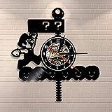 wtnhz LED-Retro Seta Video Juego Reloj de Pared Signo de interrogación Bloque Disco de Vinilo Reloj de Pared Sala de Juegos decoración de la Pared Juego Amante Regalo