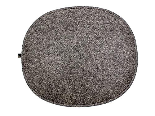 Luxflair Cojín ovalado de fieltro con relleno de color gris oscuro y gris, clásico, elegante, lavable, moderno asiento para silla de diseñador