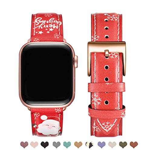 OMIU Square Bands Compatible for Apple Watch 38mm 40mm 42mm 44mm, Genuine Leather Replacement Band Compatible with Apple Watch Series 6/5/4/3/2/1, iWatch SE (Christmas/Rose Gold, 38mm 40mm)