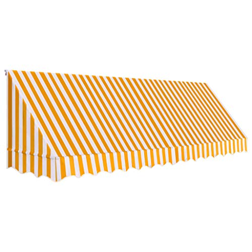 Lasamot Toldo Bistro, Bistro Awning Sunshade Shelter Outdoor 400x120 cm Naranja y Blanco