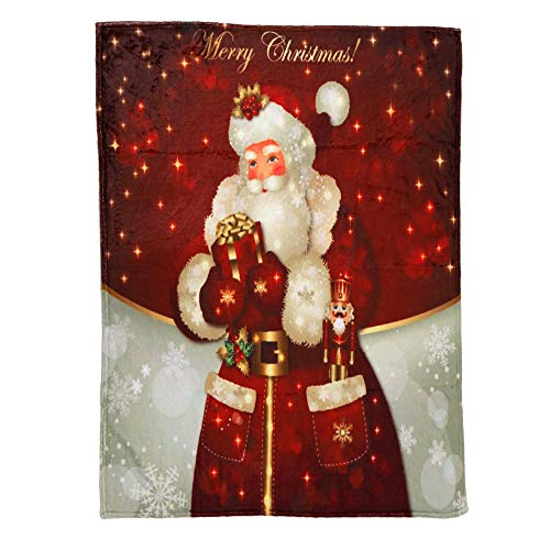 vmree Christmas Themed Festival Flannel Throw Blanket Large Soft Warm Couch Cover Sofa Bed Blanket (I, 27.6 × 39.4 inches)
