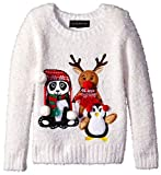 Blizzard Bay Girls Ugly Chrismas Sweater, White/Brown/Panda, S-7/8