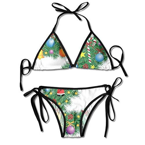 Bikini Badeanzüge Traditionelle Themen Schrift Z mit bunten Ornamenten Weihnachten Weihnachtsmann Bikini Sets Bademode Badeanzug