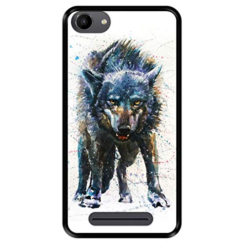 Hapdey silikon Hülle für [ Wiko Jerry - Lenny 3 - K-Kool ] Design [ Wolf, Aquarelle ] Schwarze Flexibles TPU