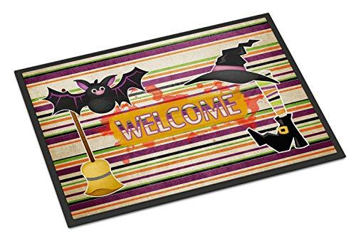 Caroline Tesoros del Disfraz de Bruja y Escoba en Rayas Halloween 24x 36Felpudo, 24'x 36', Multicolor