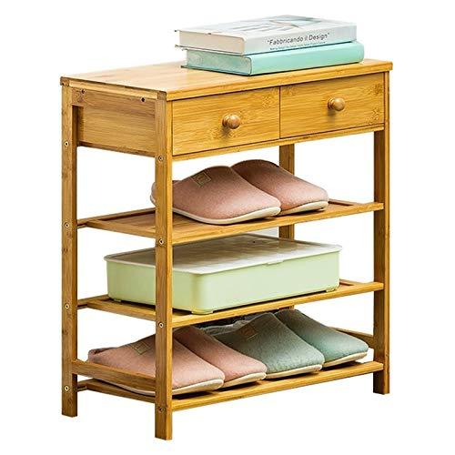 Zapatero de 3/4 niveles, organizador de zapatos de bambú natural con 2 cajones para entrada, pasillo, sala de estar, dormitorio, zapatero (color: 3 capas, tamaño: 50 cm)