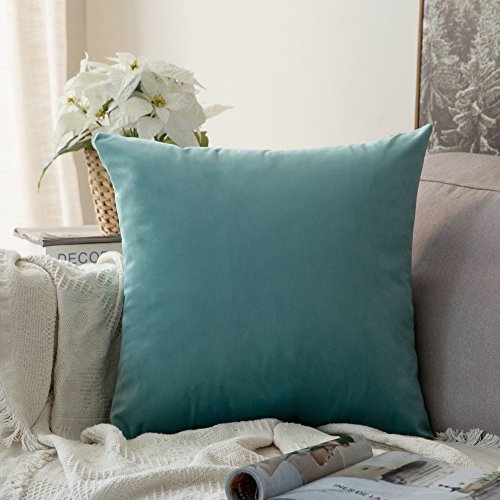 MIULEE Velvet Soft Decorative Square Throw Pillow Case Cushion Covers Pillowcases for Livingroom Sofa Bedroom with Invisible Zipper 26'x26' 1 Piece Teal
