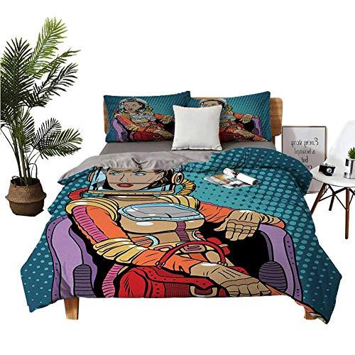 Juego de 4 sábanas de lujo para cama de matrimonio, diseño retro inspirado en la dama del espacio con portafolios en una silla de la mujer del poder del día de la mujer petróleo azul multicolor habitación doble w104 x l90