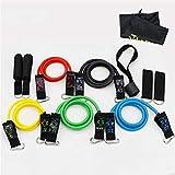 Bandas Elasticas de Fitness 11 piezas de tracción Conjunto fitness banda de resistencia resistencia del látex tire de la cuerda juego de la aptitud de la banda Negro EntrenPiernas Glúteos Yoga Pilates