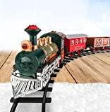 Train Set for Kids w/ Lights and Sounds - Battery Operated Electric Train - Classic Model Train with 8 Rails, Locomotive Steam Engine, and 3 Train Cars - Gift for Boys and Girls Age 3 4 5 6 7